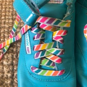 Reebok Freestyle Hightop Sneakers Rainbow Laces